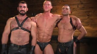 BDSM stud flogged and fingered in threesome