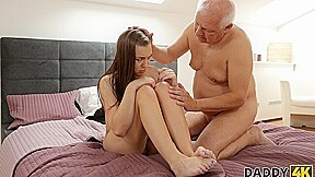 DADDY4K. Smart old man convinces sons red-haired GF to have some fun